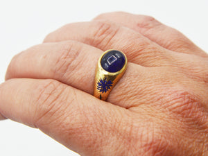 Blue Aster Sapphire Signet Ring