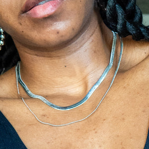 Silver Herringbone Chain and Skinny Herringbone Chain