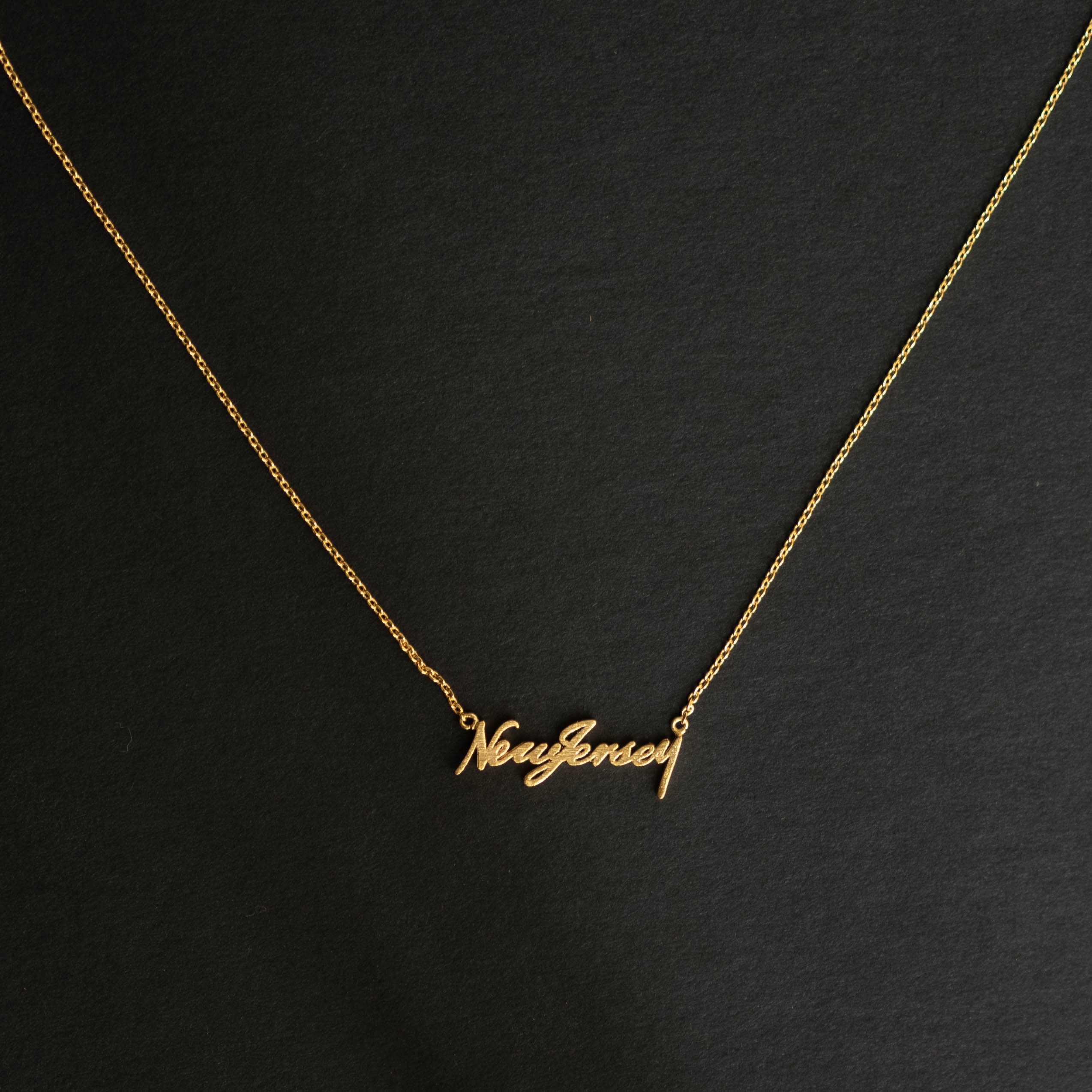 New Jersey Script Necklace