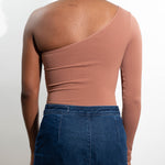 Mocha One-Shoulder Top Back