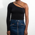 Black One-Shoulder Top Front