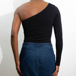 Black One-Shoulder Top Back