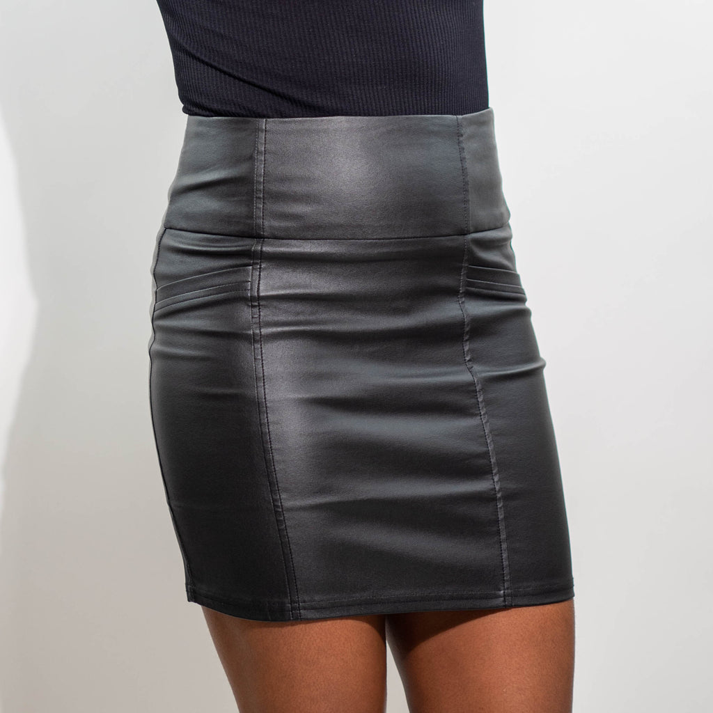 High-Waist Vegan Leather Skirt Front