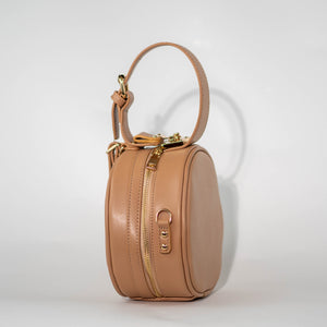 Tan Round Crossbody Side