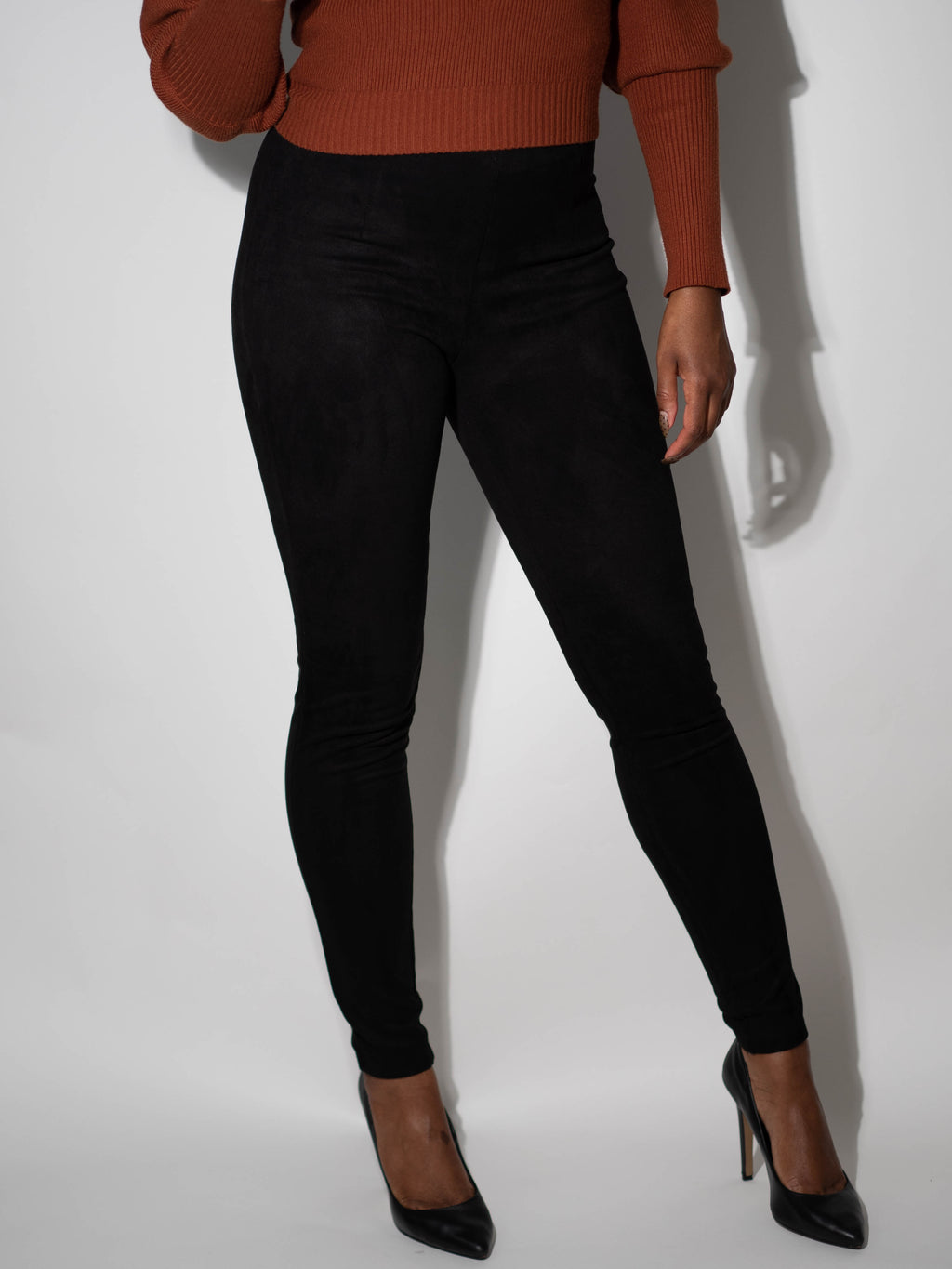 high waist suede pant