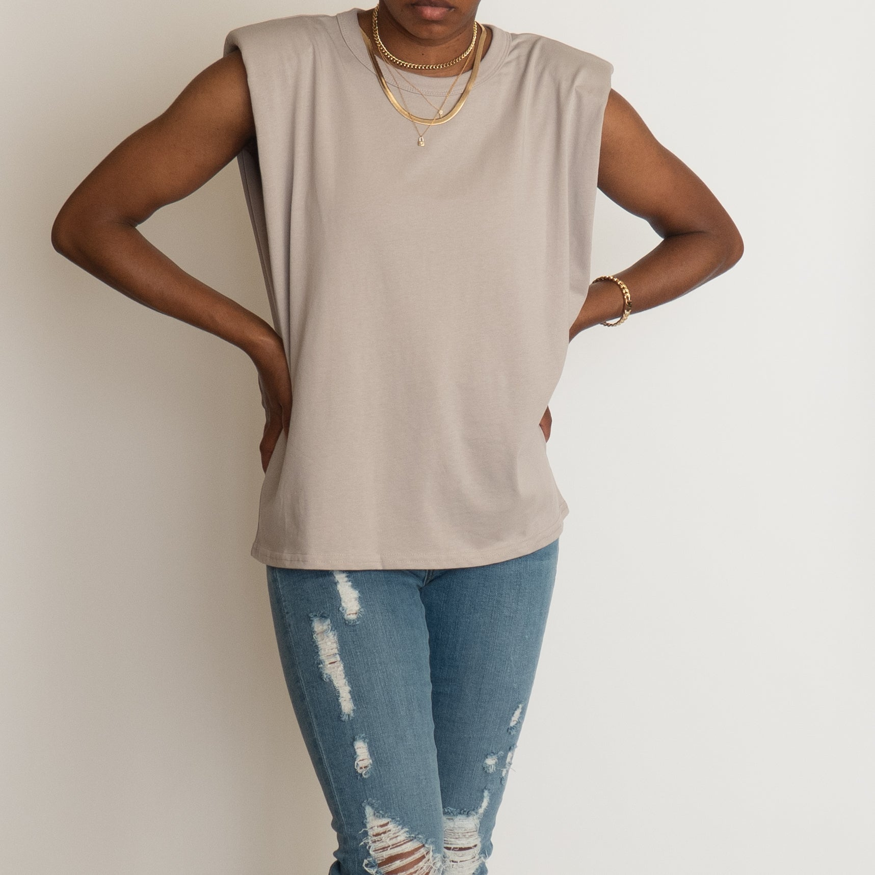 Vera Padded Shoulder T-Shirt