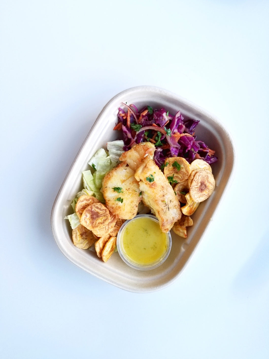 Fish Taco Salad with Red Cabbage Slaw, Roasted Plantain, Lime Vinaigrette