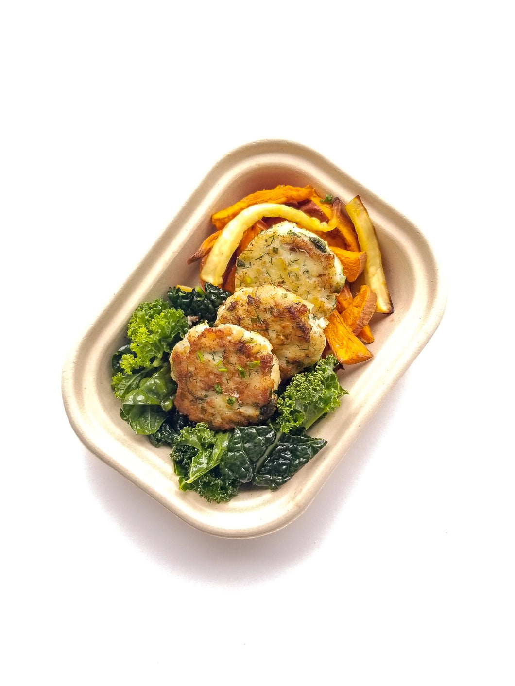 Ginger-Turmeric Fish Cakes with Steamed Broccoli with Olive Oil