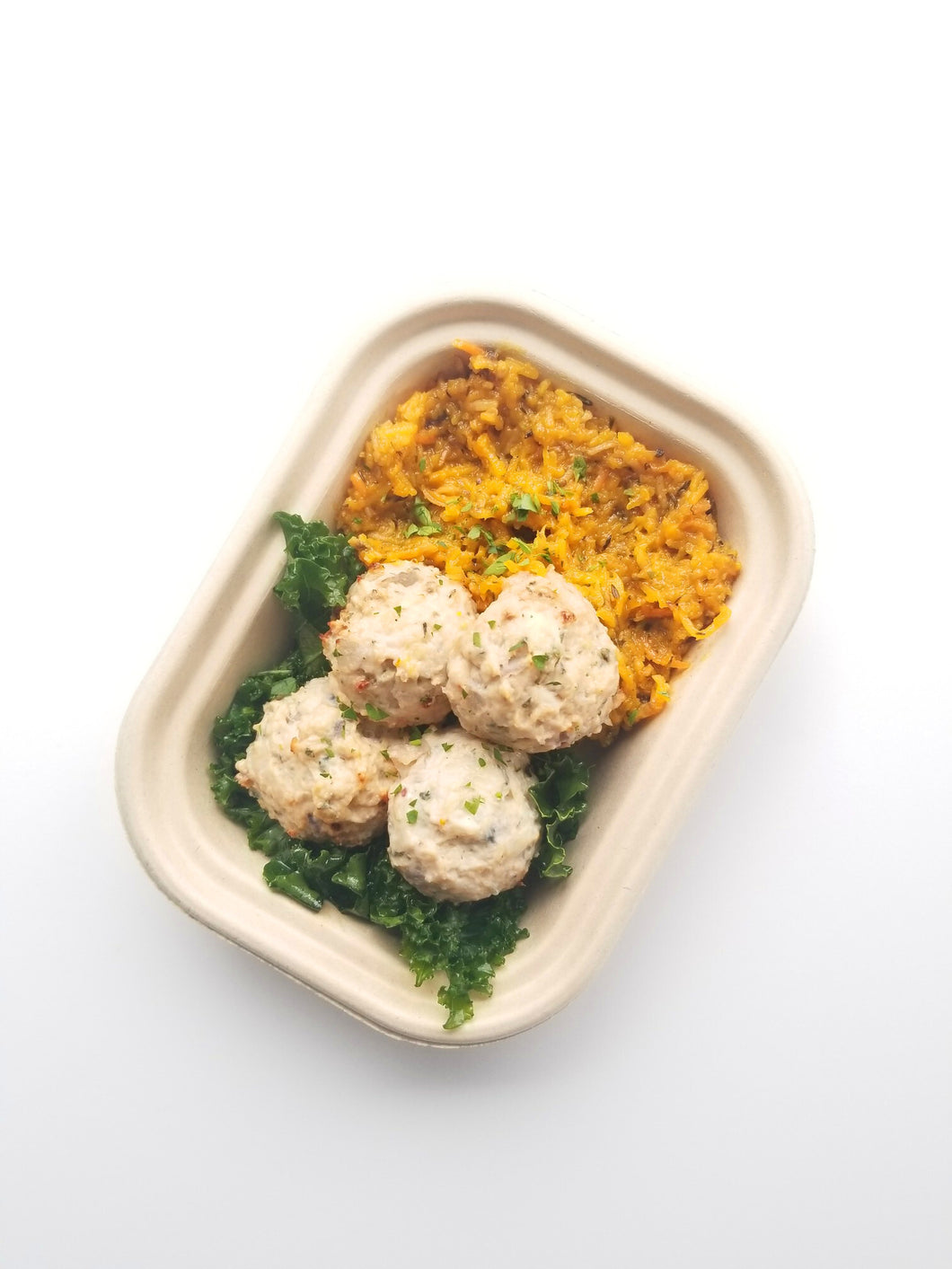 Herb Pork Meatballs with Roasted Delicata Squash, Herb Gravy