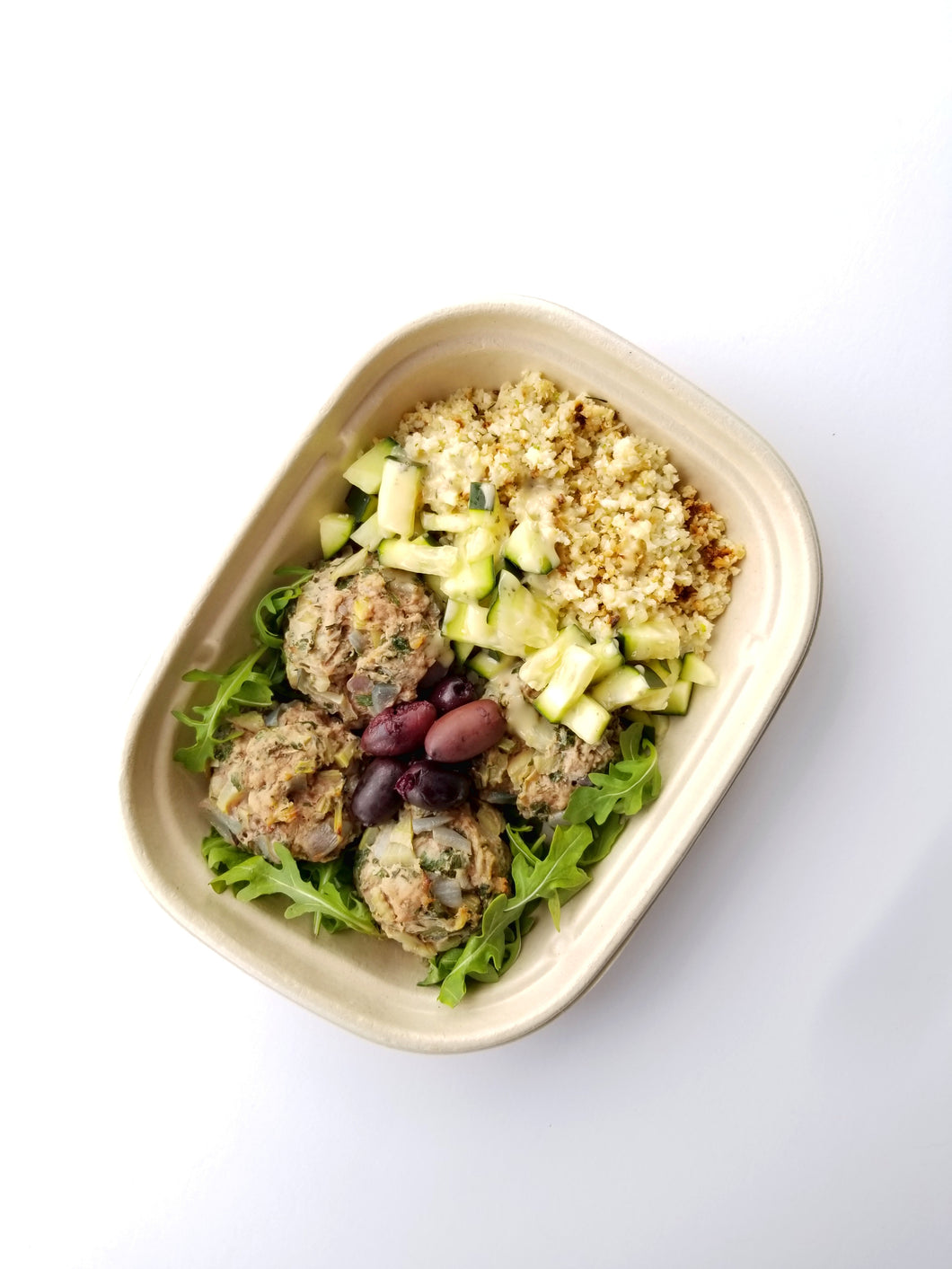 Lamb Gyro Meatballs with Cauliflower Tabbouleh, Tzatziki Dressing