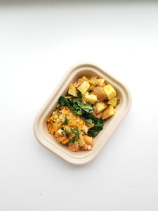 Salmon and Veggie Hash with Kale Garnish