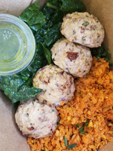 Sundried Tomato Chicken Meatballs with Root Vegetable Rice