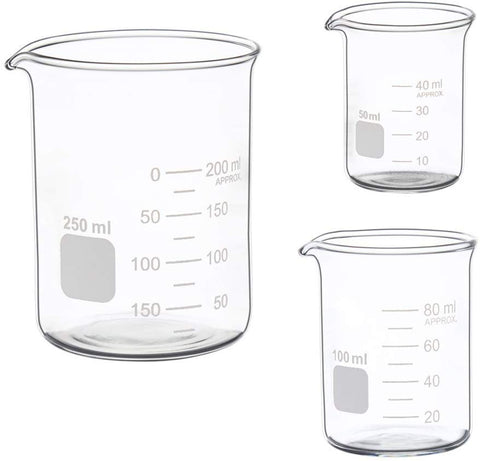 Ronyes Lifescience Glass Measuring Low Form Beaker Set 50ml 100ml 250ml Glass Graduated Beaker Set