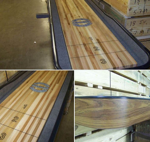 Champion_Qualifier_Shuffelboard_Table_Meduim_Oak_Laminate_Upclose_View