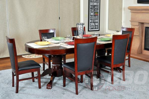 Complete Set of 8 Mahogany BBO Poker Table Chairs