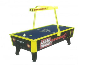 Laser hockey table by great american with overhead digital scoreboard and the most black light surface area. Picture shown with yellow trim and scoreboard with blue playing surface.
