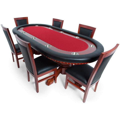 Image of Complete Set of 8 Mahogany BBO Poker Table Chairs