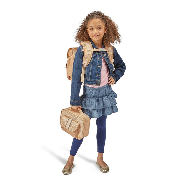 """Sparkalicious Gold"" Backpack & Lunchbox Bundle for Kids - Small - Bixbee"