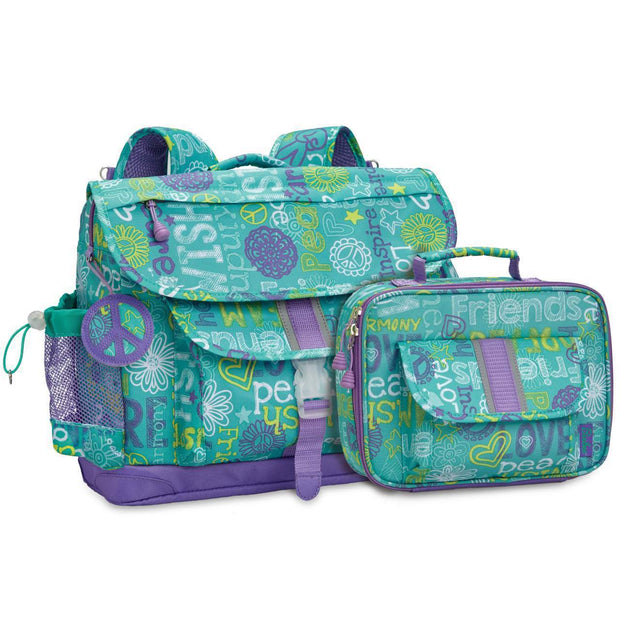 """Hope Peace Love"" Backpack & Lunchbox Bundle - Medium - Bixbee"