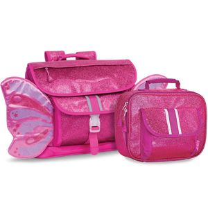 Medium Sparkalicious Ruby Raspberry Butterflyer Backpack & Lunchbox Bundle