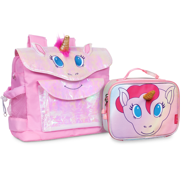 Unicorn Pattern Kids Backpack & Lunchbox Bundle Pink - Medium - Bixbee