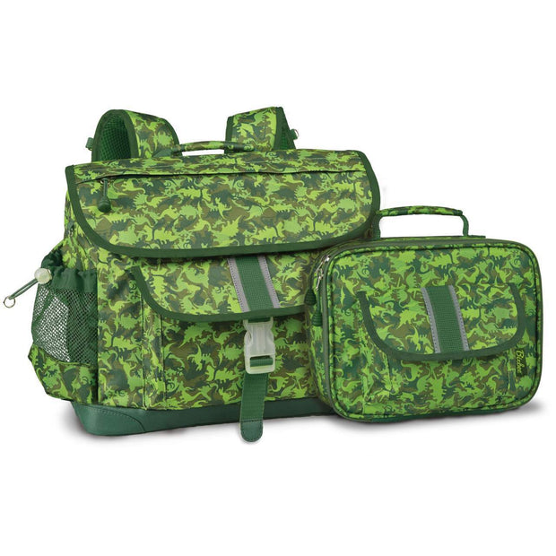 Dino Dinosaur Camo Patterned Kids Backpack & Lunchbox Bundle - Medium - Bixbee