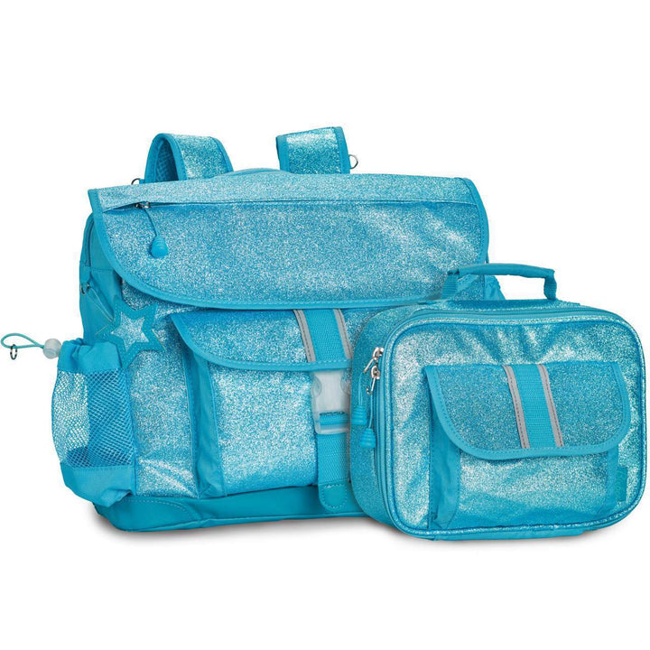 Large Sparkalicious Turquoise Backpack & Lunchbox Bundle - Bixbee