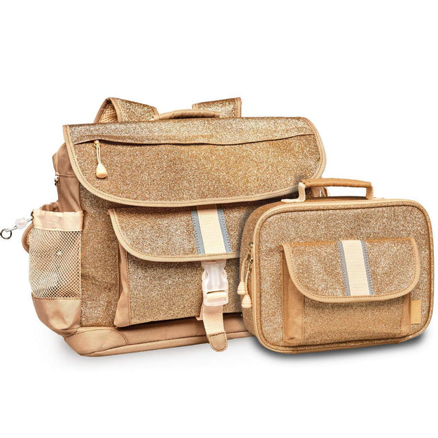 """Sparkalicious"" Backpack & Lunchbox Bundle - Gold Small - Bixbee"