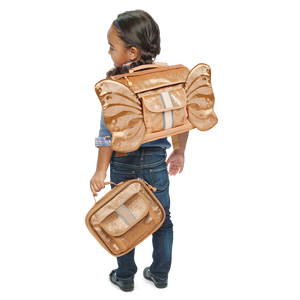 Little Girl Wearing Bixbee Sparkalicious Gold Glitter Butterflyer Small Backpack Lunch Box Bundle School Bags for Kids