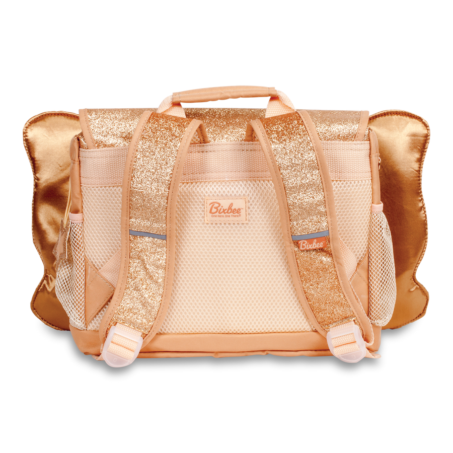 Bixbee Sparkalicious Gold Glitter Butterflyer Small Backpack Back View