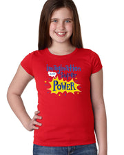 Imagination is My Super Power - Red T-Shirt Girls - Bixbee