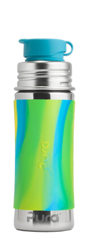 Pura 11oz/325ml Sport MiniTM Bottle w/ Sleeve - Aqua Swirl - Bixbee