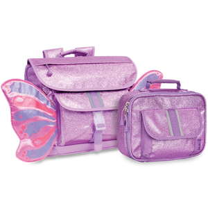 Medium Sparkalicious Purple Butterflyer Backpack & Lunchbox Bundle - Bixbee