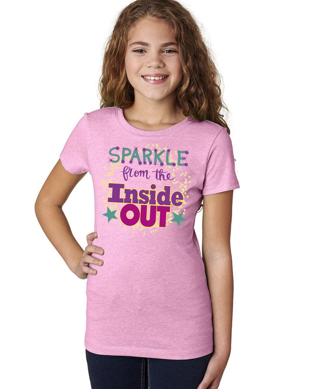 Sparkle from Inside Out - Light Pink T-Shirt Girls - Bixbee