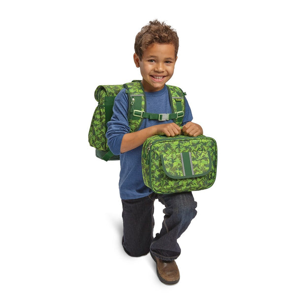 Dino Dinosaur Camo Patterned Kids Backpack & Lunchbox Bundle - Large - Bixbee