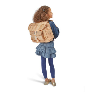 Bixbee Sparkalicious Gold Glitter Medium Large Backpack Lifestyle Child Girl Wearing backpack