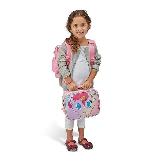 Unicorn Pattern Kids Backpack & Lunchbox Bundle Pink - Small - Bixbee