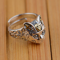 Blessed Cora Silver Cat Ring