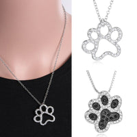 Feline Paw and Heart Necklace