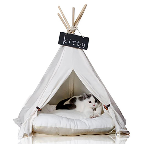 Kitten Canvas Teepee with Cushion