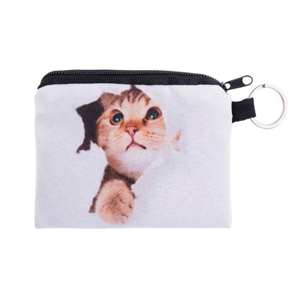 Cute Cat Zippered Coin Purse