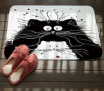 Black White Shocked Cat Mat