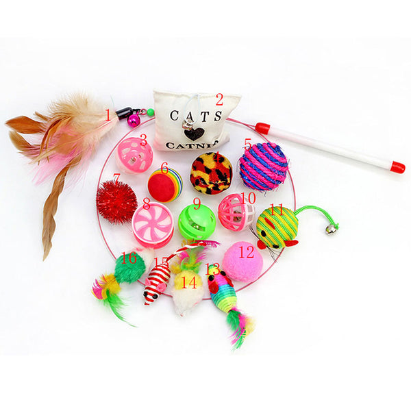 Cat Feather Teaser Wand -16 pcs