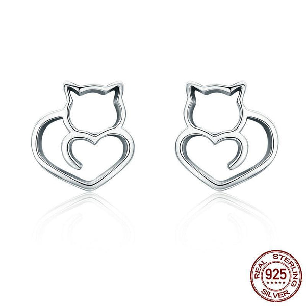 Loving Heart Cat Earrings