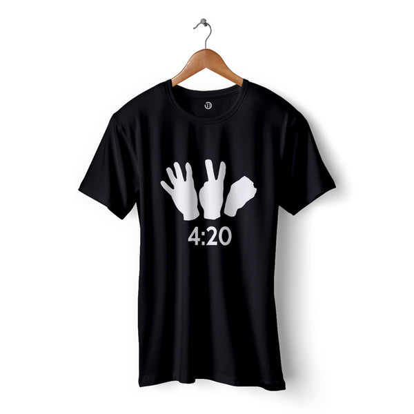 420 black tee with finger notation