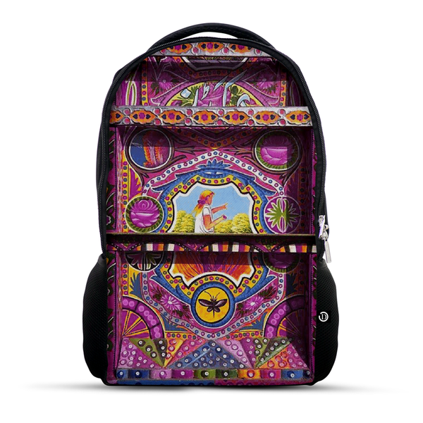 Truck Art pink folk art with girl backpack
