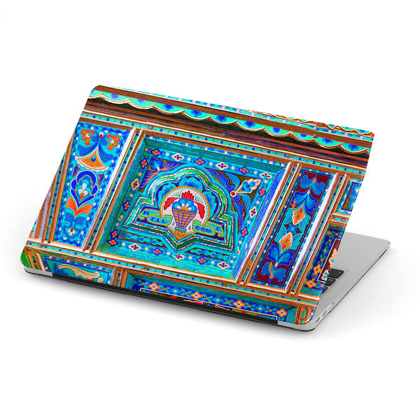 Truck art with blue floral pattern laptop skin