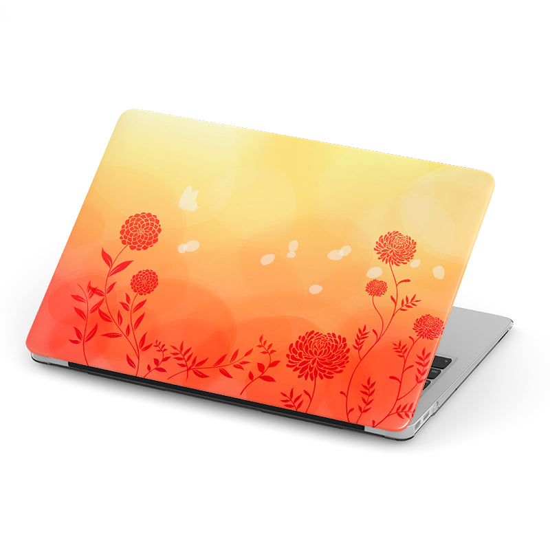 Orange Shade with Red Flowers Background