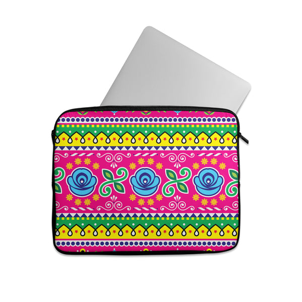 Truck art flower pattern Laptop sleeve