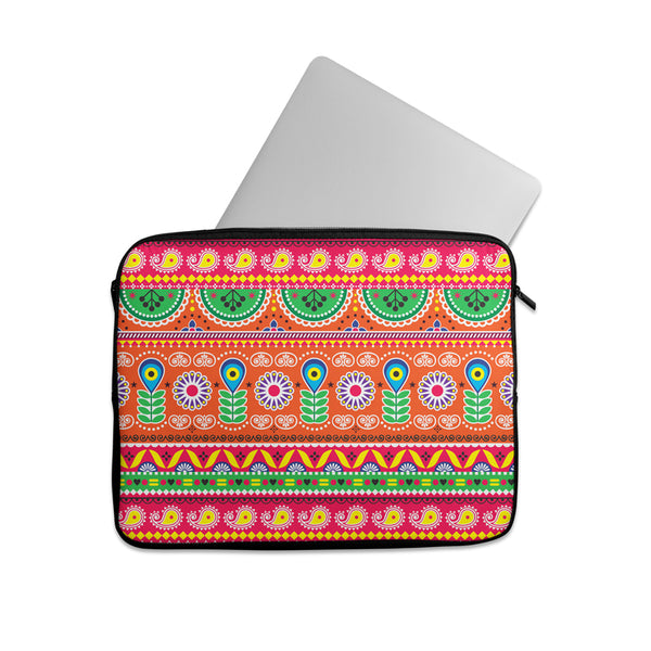 Truck art folk art pattern Laptop sleeve
